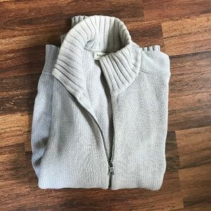 BANANA REPUBLIC light gray knit zip sweater L